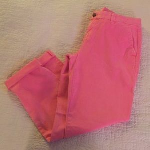 GAP hot pink cropped khakis, size 8